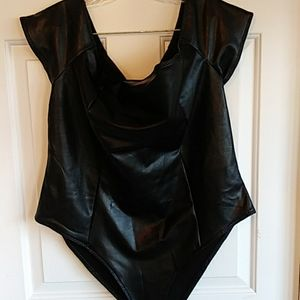 F21 Forever 21+ Black Faux Leather Bodysuit 2X